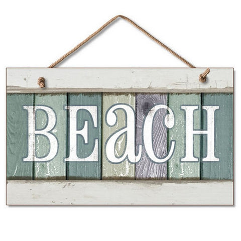 Colorful Wooden Hanging Beach Sign - 10""