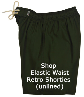 Shop Mens Elastic Waist Retro Short Board Shorts