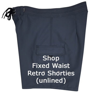 Shop Mens Fixed Waist Retro Short Board Shorts