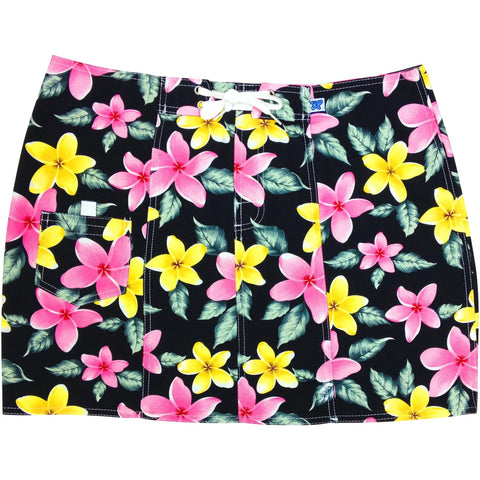 """Free Roaming"" Plumeria Board Skirt (Black, Pink, Red, or Turquoise) - Board Shorts World - 1"
