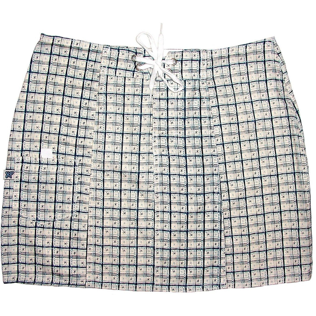 """Jetson Plaid"" 100% Cotton Board Skirt (Blue) **SALE** - Board Shorts World"