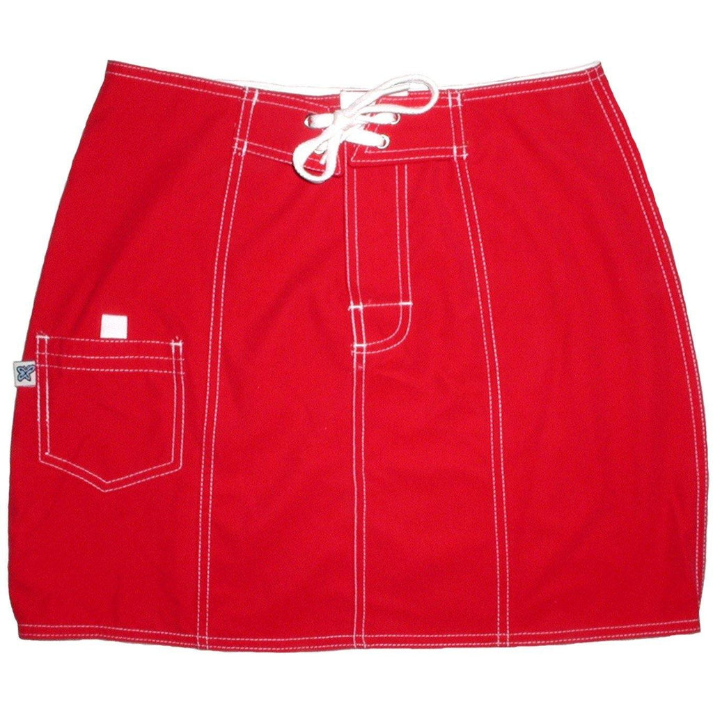 """A Solid Color"" Original Style Board Skirt  (American Red) - Board Shorts World"