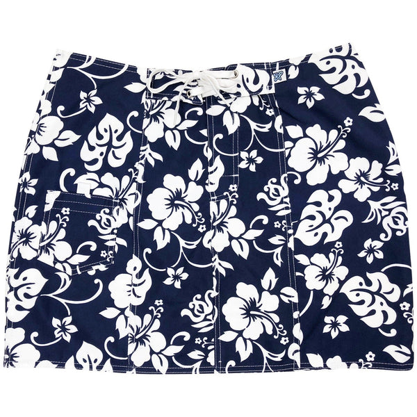 """Pure Hibiscus"" Original Style Board Skirt (Black+White or Navy+White)"
