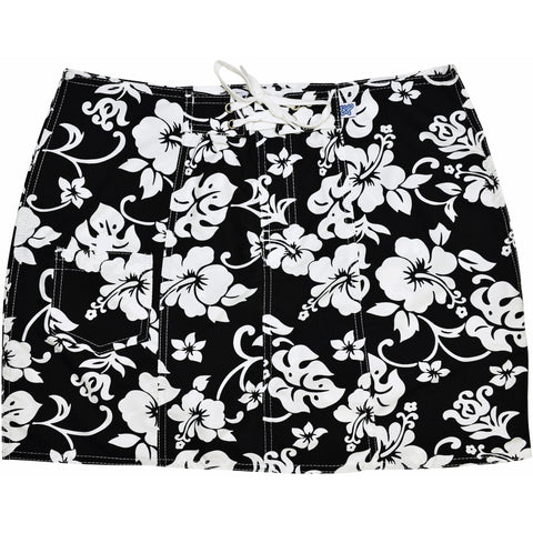 """Pure Hibiscus"" Original Style Board Skirt (Black+White or Navy+White) - Board Shorts World - 1"