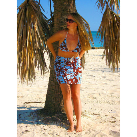 """Pure Hibiscus"" Original Style Board Skirt (Brown+Blue or Brown+Pink) - Board Shorts World - 1"
