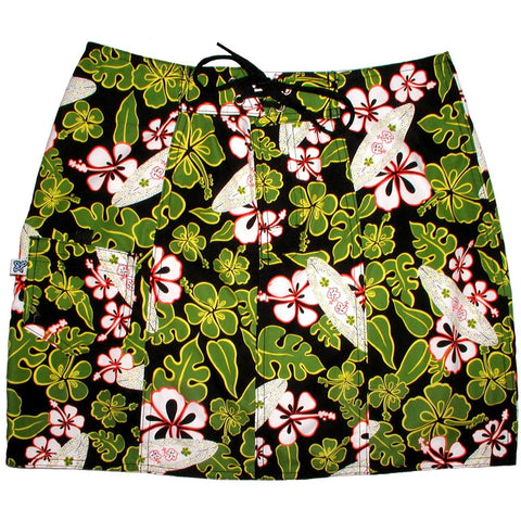 """Stick Figures"" Board Skirt (Black+Green) - Board Shorts World"