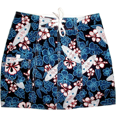 """Stick Figures"" Board Skirt (Blue) - Board Shorts World"