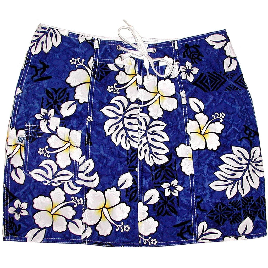 """Tribal Council"" Board Skirt (Blue) - Board Shorts World"