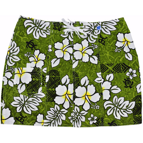 """Tribal Council"" Board Skirt (Olive) - Board Shorts World"