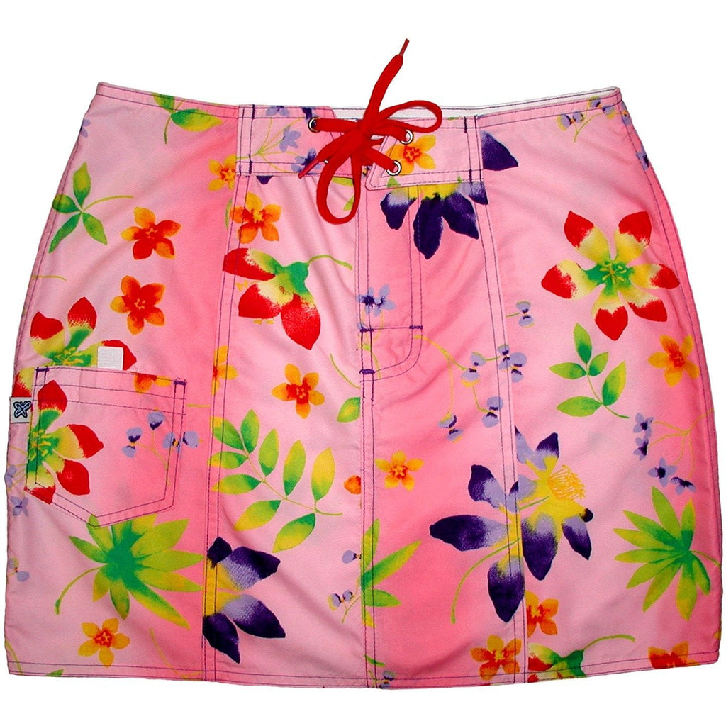 """Watercolors"" Original Style Board (Swim) Skirt - Pink - Board Shorts World"