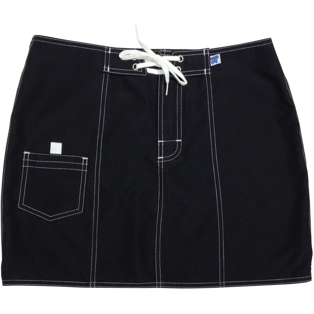 """A Solid Color"" Original Style Board Skirt (Black+White Stitching, Stone, Silver, Cinnamon or White) - Board Shorts World - 1"