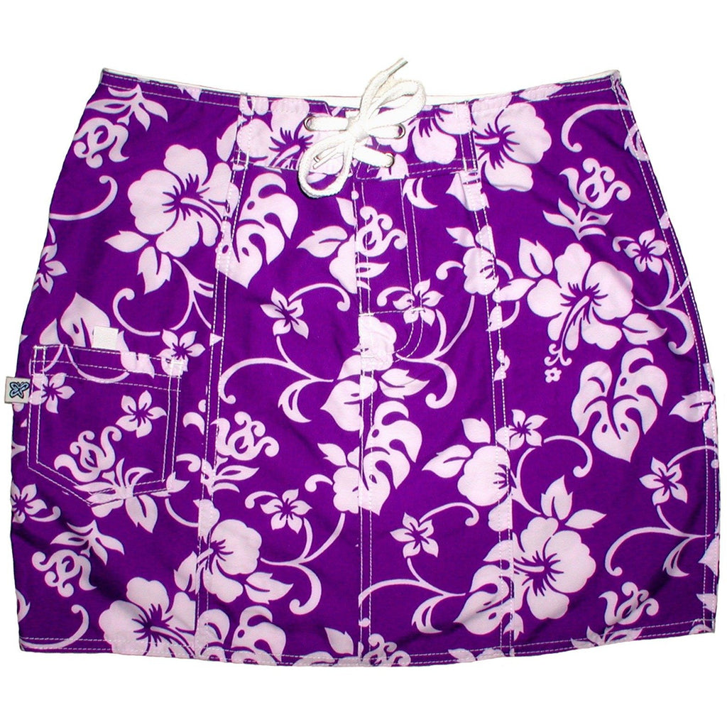 """Pure Hibiscus"" Original Style Board Skirt (Purple) - Board Shorts World"