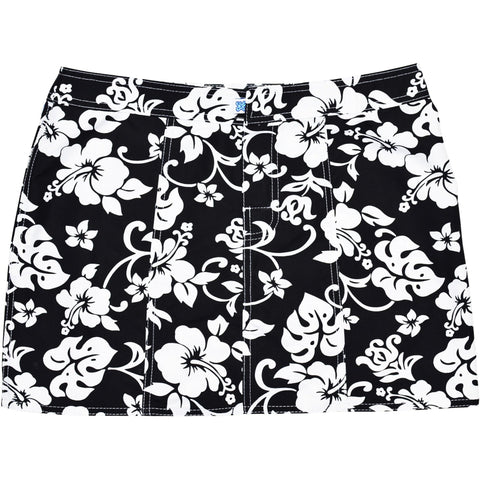 """Pure Hibiscus"" Hipster Board Skirt (Black, Navy, Purple, Brown+Blue, or Brown+Pink) - Board Shorts World - 1"