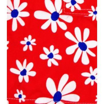 """Summer of Love"" Print Board Shorts for Little Girls (Red) - Board Shorts World"