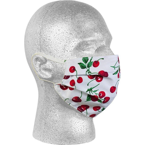 """a la Mode"" Cherries Face Mask (White).  **Available in Both Styles**"