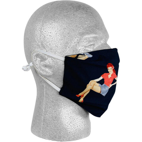 """Back Stage Pass"" Pin Up Girls Face Mask (Black).  **Available in Both Styles** - Board Shorts World"