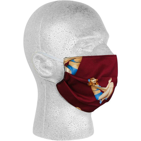 """Back Stage Pass"" Pin Up Girls Face Mask (Wine).  **Available in Both Styles** - Board Shorts World"