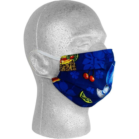 """Hurry Sundown"" Cocktails Face Mask (Blue).  **Available in Both Styles** - Board Shorts World"