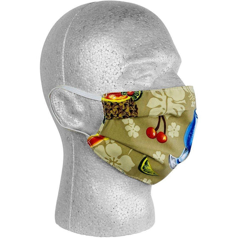 """Hurry Sundown"" Cocktails Face Mask (Sand).  **Available in Both Styles** - Board Shorts World"