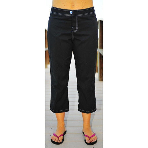 """A Solid Color""  Womens Board (Swim) Capris - NON Elastic Waist  + Regular Rise + 23"" Inseam (Black+White Stitching) - Board Shorts World"