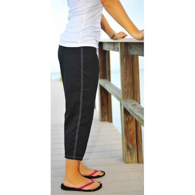 """A Solid Color"" Capri. Regular or High Rise/Waist. Women's CUSTOM (Black)"