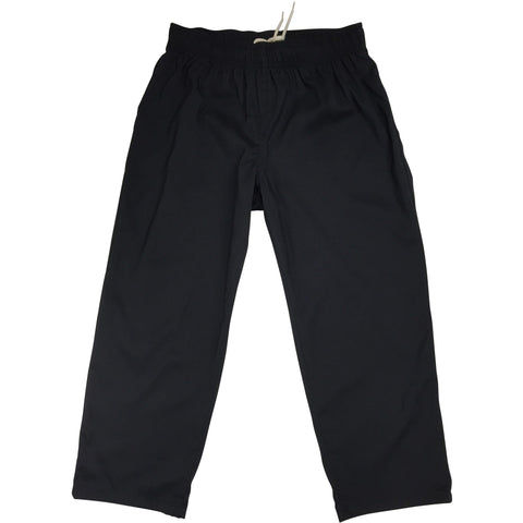 """A Solid Color"" Womens Board (Swim) Capris - ELASTIC Waist  + HIGHER Rise/Waist + 23"" Inseam (Black+Black Stitching) - Board Shorts World"