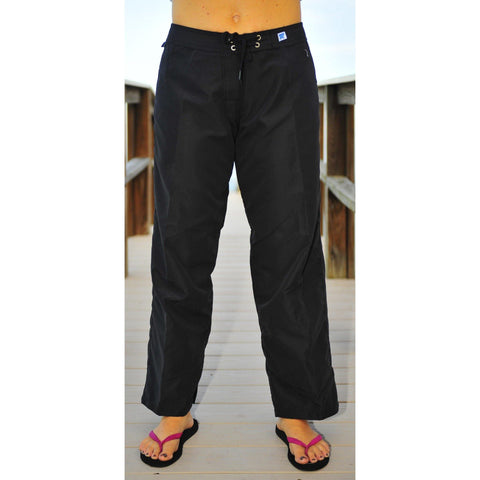 "Womens Board (Swim) Pants - 30"" Inseam.  Regular Rise + NON Elastic Waist - (Black+Black Stitching)"