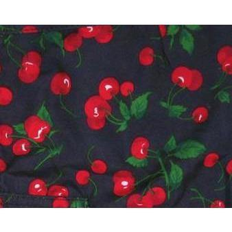 """A la Mode"" Cherries Print Womens Board Shorts - Lower Rise / 4"" Inseam (Black) - Board Shorts World"