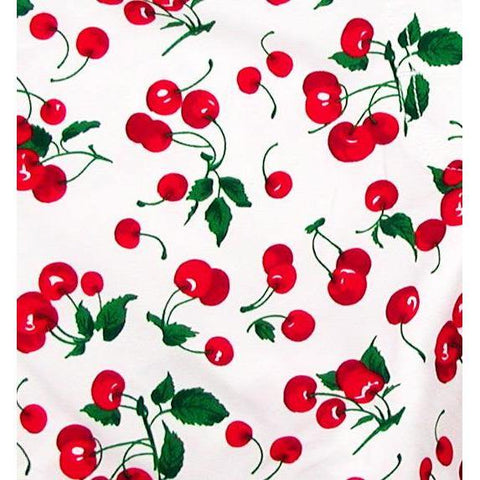 """a la Mode"" Cherry Print Board Shorts for Little Girls (White)"