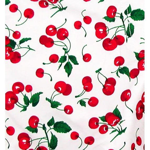 """a La Mode"" Original Style Cherries Print Board Skirt (White)"