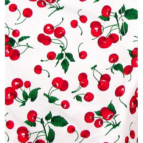 """a la Mode"" Cherries Print Hipster Board Skirt (White)"