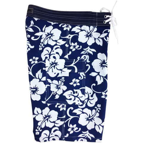 """Pure Hibiscus"" Boys + Girls Board Shorts. 8"" Inseam / 18.5"" Outseam (Navy)"