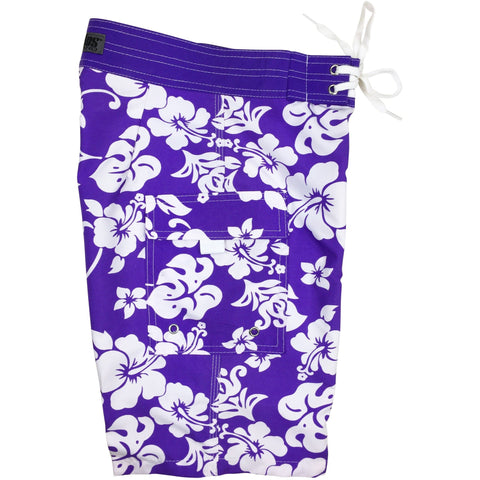 """Pure Hibiscus"" Boys + Girls Board Shorts. 8"" Inseam / 18.5"" Outseam (Purple)"