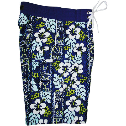 """Tortugas"" Boys + Girls Board Shorts. 8"" Inseam / 18.5"" Outseam (Blue, or Red) - Board Shorts World - 1"