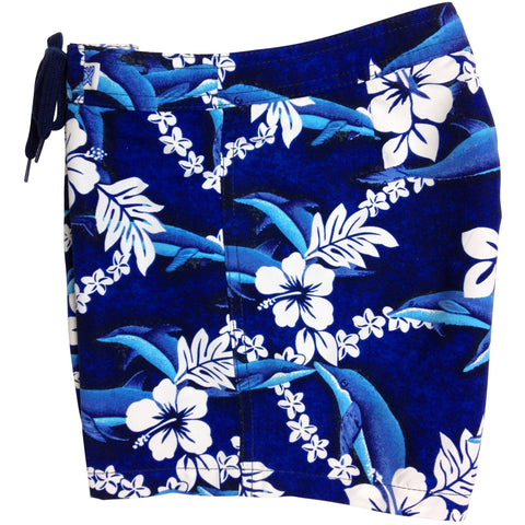 """Fins"" Board Shorts for Girls SZ 8-14 (Blue) - Board Shorts World"