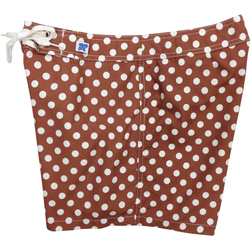 """Gidget"" Polka Dot Board Shorts - Regular Rise / 5"" Inseam (Brown) - Board Shorts World"