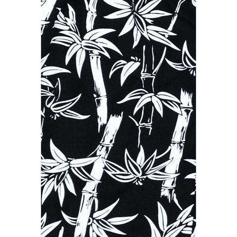"""Branch Out"" Bamboo Print Hipster Board Skirt (Black)"