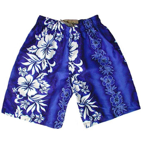 """Conga Line"" Boys Swim Trunks with Mesh Liner - 7"" Inseam / 18"" Outseam (Blue, Charcoal, Red or Pink) - Board Shorts World - 1"