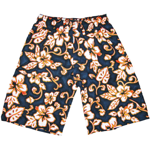 """Elemental"" Boys Swim Trunks with Mesh Liner - 7"" Inseam / 18"" Outseam (Navy) - Board Shorts World"