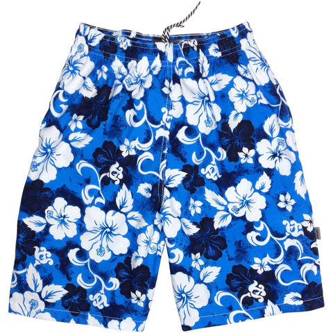 """Jungle Boogie"" Boys Swim Trunks with Mesh Liner - 7"" Inseam / 18"" Outseam (Blue, Charcoal, Olive, Orange or Red) - Board Shorts World - 1"