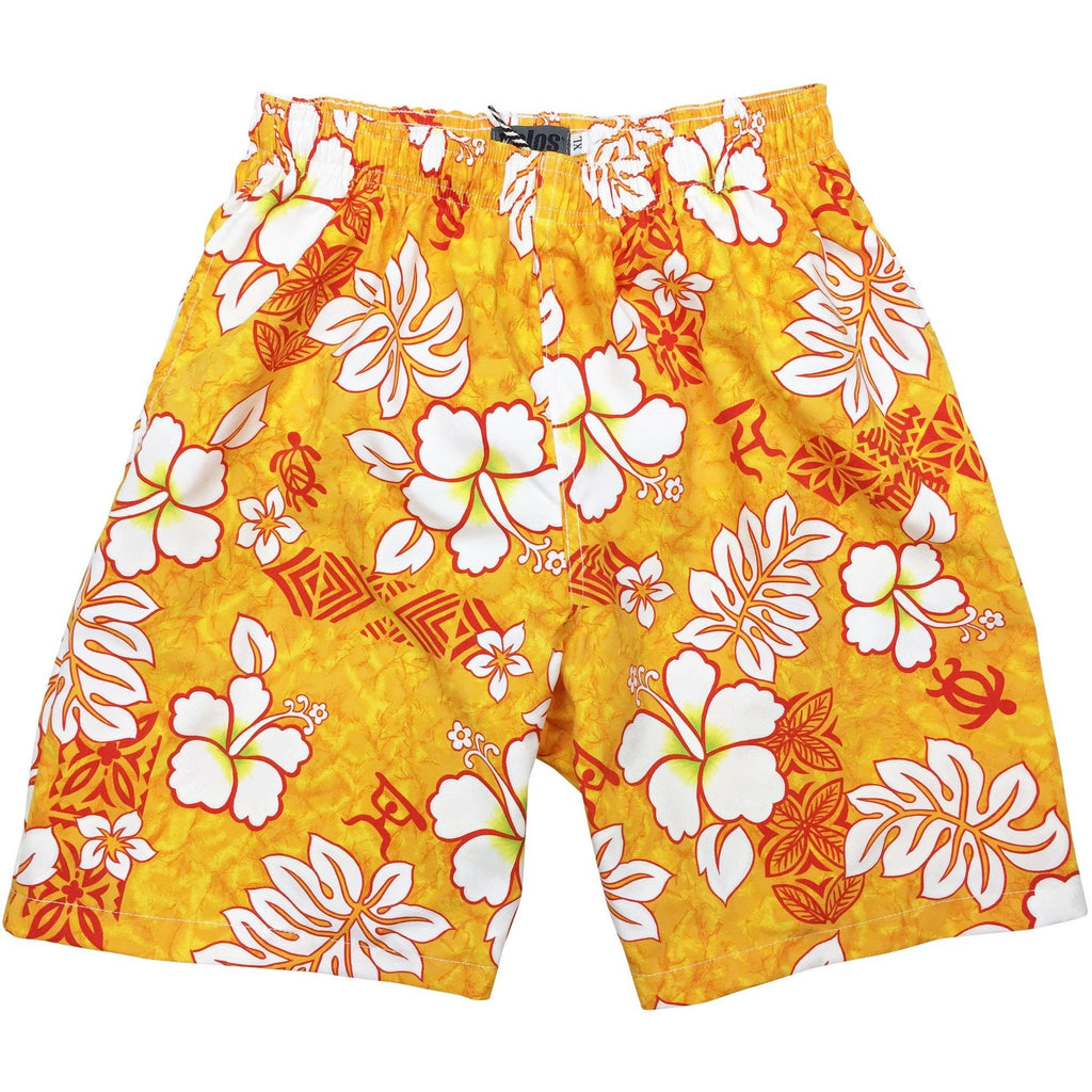 """Tribal Council"" Boys Swim Trunks with Mesh Liner - 7"" Inseam / 18"" Outseam  (Orange, Blue, Charcoal, Red, Olive or Sand) - Board Shorts World - 1"