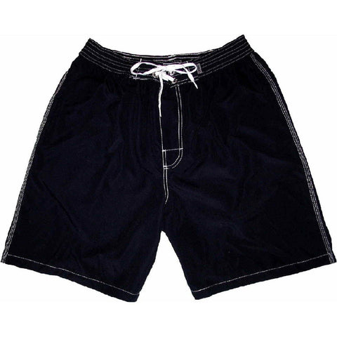 """A Solid Color"" (Black) Mens Elastic Waist Board Shorts - 9"" Inseam *SALE*"