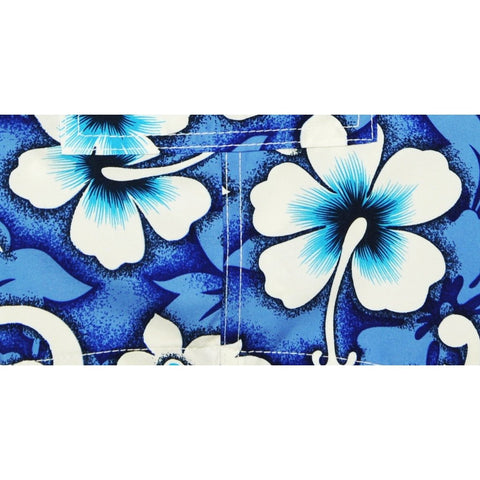 """Charm School"" (Blue) Womens Elastic Waist Swim Board Shorts. REGULAR Rise + 5"" Inseam"