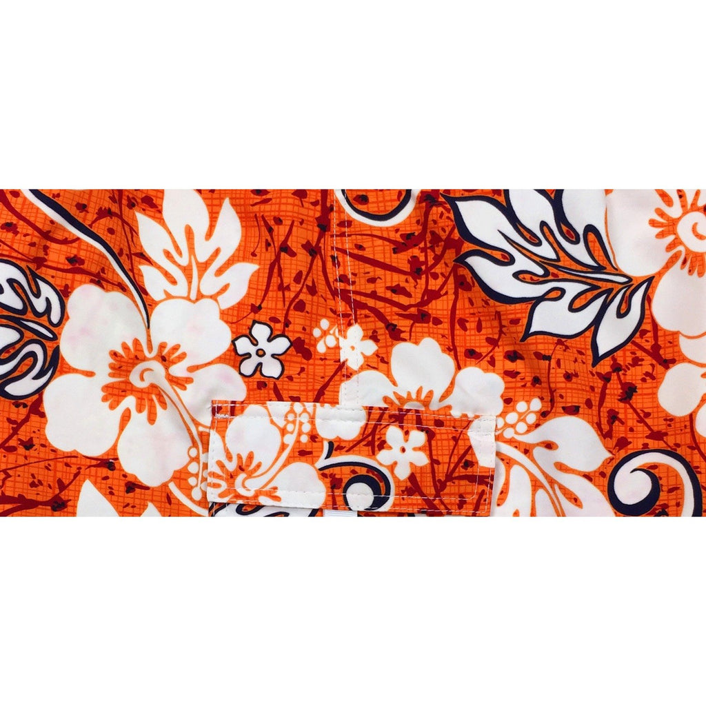 "Fixed (Non Elastic) Waist Board Shorts ""Drop Cloth"" (Orange) Print Mens CUSTOM - Board Shorts World"