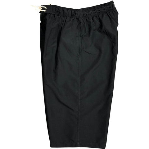 "**Best Seller** Solid Black (black stitching) Side Pockets Elastic Waist Board Shorts (Select Custom Outseam 22"" - 27"")"