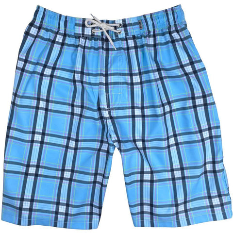 """Casual Friday"" (Blue) Plaid Side Pockets Elastic Waist Board Shorts (Select Custom Outseam 22"" - 27"")"