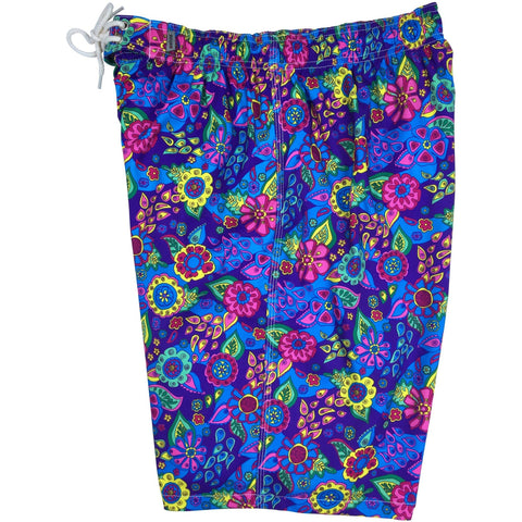 """Carnival"" Mens Elastic Waist Board Shorts - 22"" Outseam / 9.5"" Inseam (Purple, Black, Red or Brown) - Board Shorts World - 1"