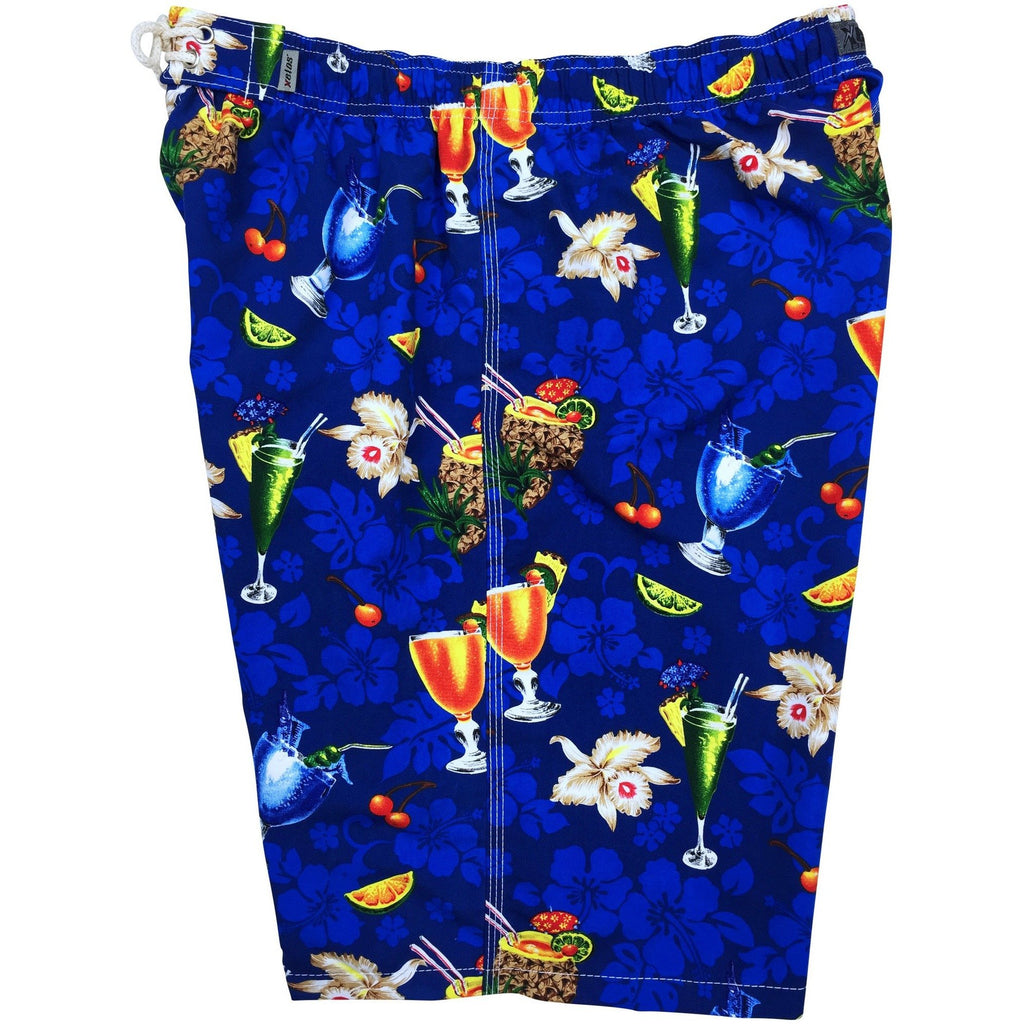 "Elastic Waist Board Shorts ""Hurry Sundown"" (Blue) Print Mens CUSTOM"