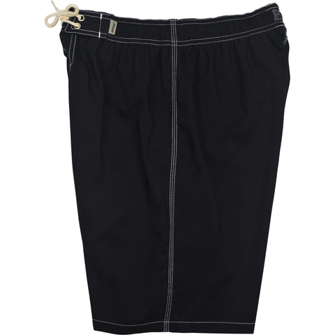 "Solid Black (Contrast White Stitching) Side Pockets Elastic Waist Board Shorts (Select Custom Outseam 22"" - 27"")"