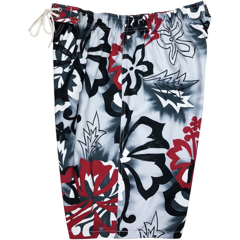 """Off to Baja"" Mens Elastic Waist Board Shorts - 22"" Outseam / 9.5"" Inseam (Charcoal)"